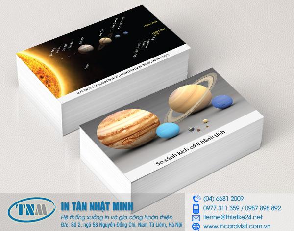 Mẫu thiết kế và in card hệ mặt trời