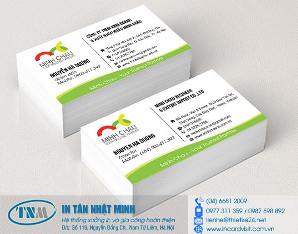 Mẫu thiết kế và in card visit lĩnh vực xuất nhập khẩu cho công ty Tân Nhật Minh