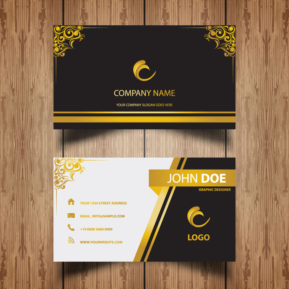 11 Business Card Golden Ornaments
