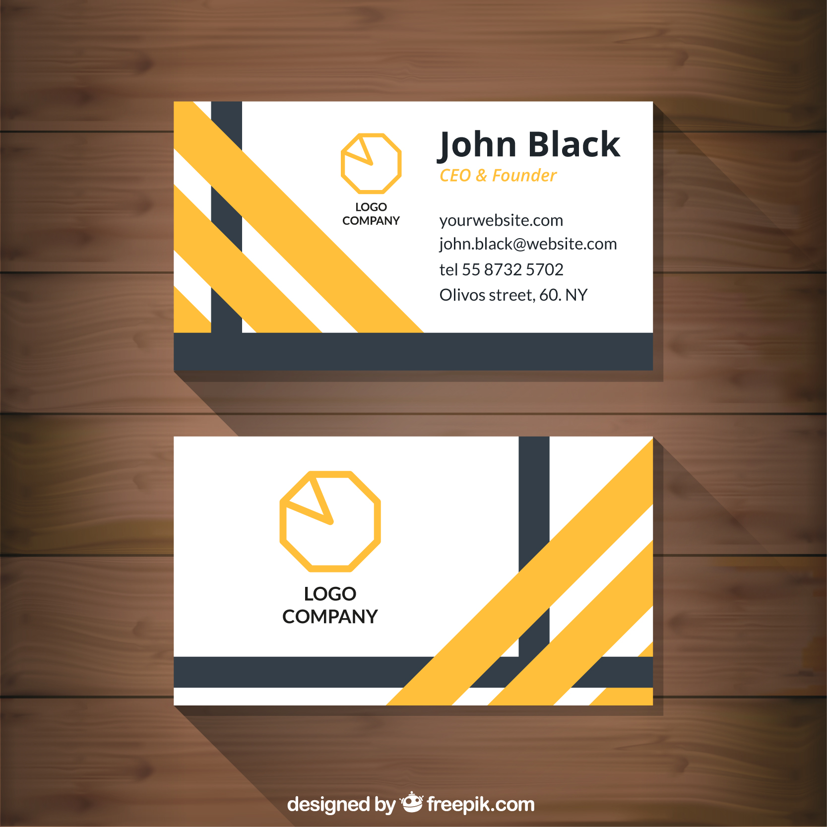 17 Abstract Business Card With Yellow Stripes