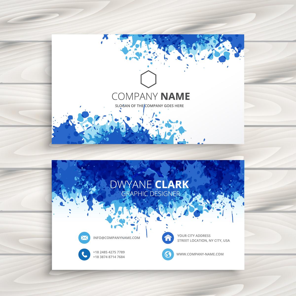 Chỉ đơn giản là những vẩy màu xanh với các sắc độ khác nhau cũng tạo nên một mẫu thiết kế card visit ấn tượng