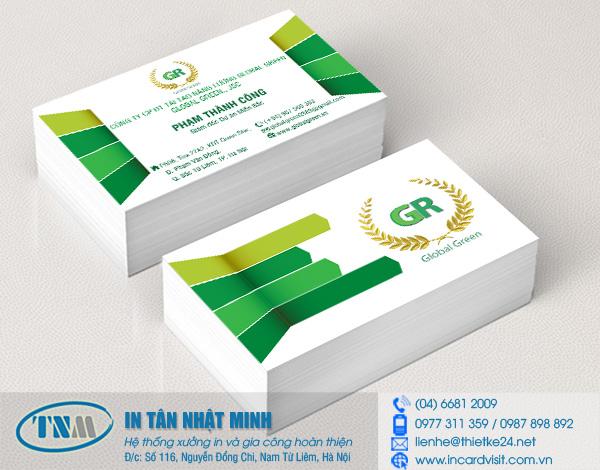 In card visit du lịch cho công ty CPĐT tái tạo năng lượng Global Green
