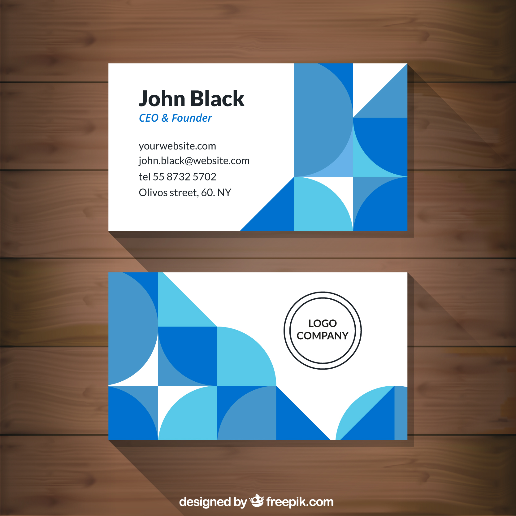 16 Abstract Blue Shapes Corporative Card