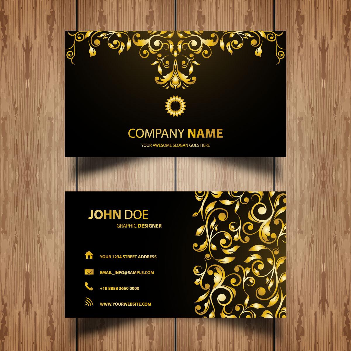 Mẫu card visit ấn tượng với hai màu đen và ánh vàng thể hiện sự sang trọng, lịch lãm khẳng định đẳng cấp người dùng